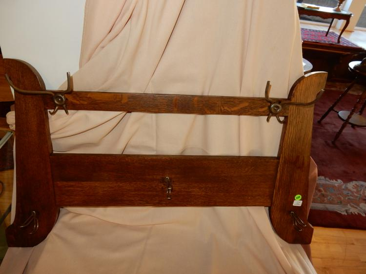 Antique American oak Arts & Crafts wall mounted hat rack, professionally refinished