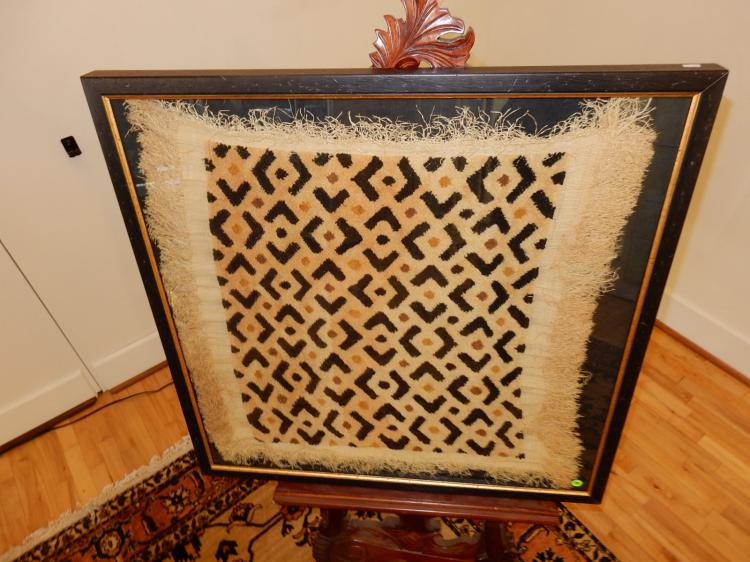 Unique framed hand woven African panel / rug. Special shipping required