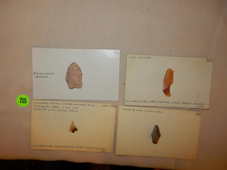 Nice collection of handmade Native American arrowheads / tools, etc, with, various sizes, info / history / location etc on card label**