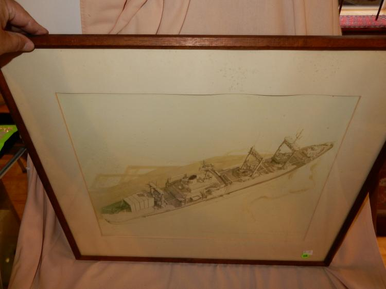 Vintage framed art of USS Suribachi