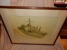 Vintage framed ship art, signed