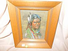 1) Original early oil painting by local listed western artist, Fred Oldfield (1918-), titled