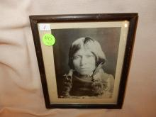 Antique framed black & white Native American photo, on back reads: Unpublished E. Curtis photo?