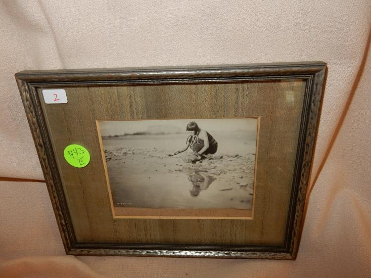 Antique framed black & white Native American photo, Unpublished E. Curtis photo? (from same estate as lot#443D)