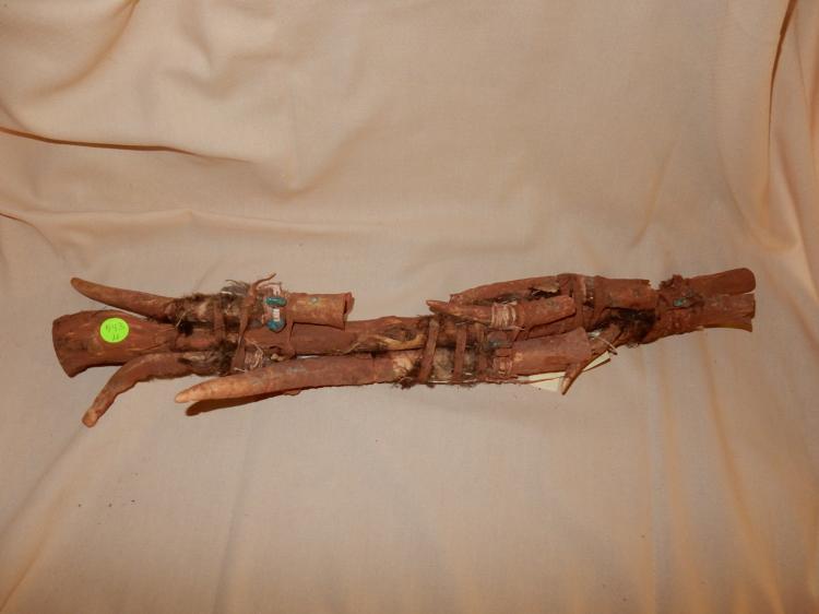 Southwest Native American Zuni? ceremonial effigy bundle, including wood, carved antler, shell, turquoise, etc.