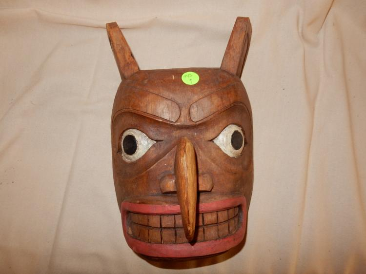 Nice Native American hand carved and painted cedar mask