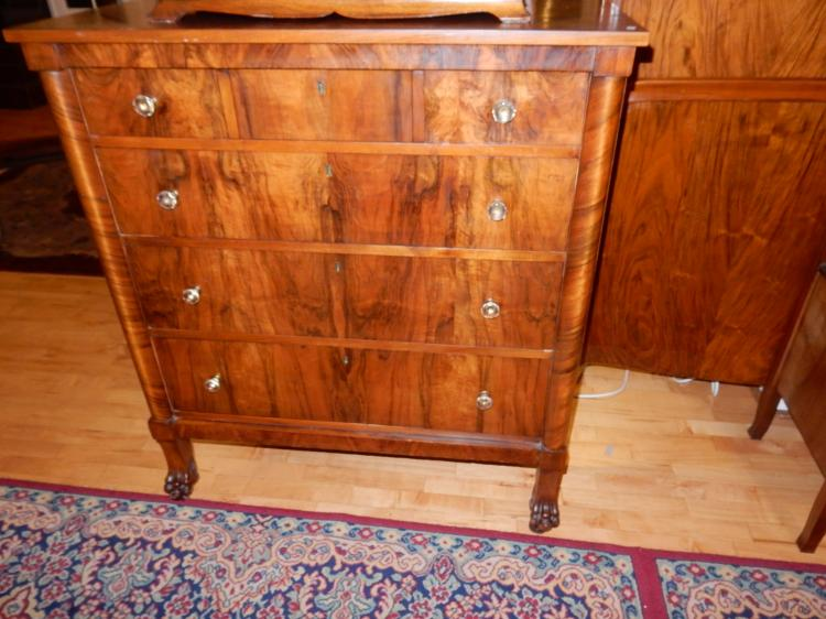 Nice antique bedroom set burl wood split grain with bed a for Bedroom furniture 98409