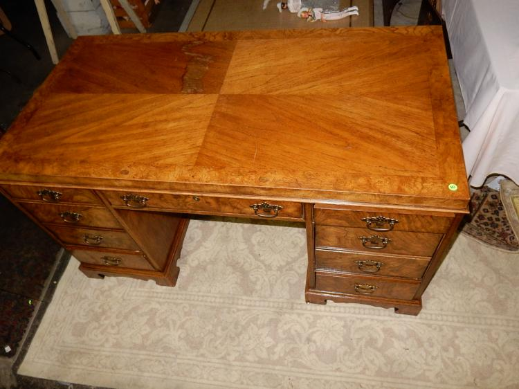 Double bank split burl wood desk minor stain on top specia for Furniture bank tacoma