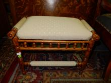Antique American oak stick and ball small stool, refinished, cond VG special shipping required