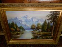 Nice original oil painting on canvas by William Chapman, lake and mountain scene, fancy frame. Special shipping required