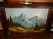 Nice original oil painting on canvas signed, mountain scene and cabin, fancy frame. Special shipping required