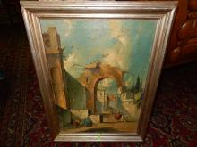 Nice Antique oil painting on canvas of Italian city ruins, signed lower right, shows label on back