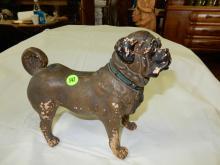 Unique Pug dog figure, has paint loss,