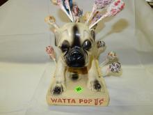 Original Watta Pop one cent Chalk ware Pug Dog Sucker Lollipop Display, general store, cond VG has melted sucker line