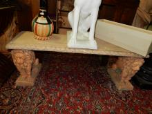 Wonderful (large) Italian composite marble bench with double lion supports, cond VG Extremely heavy (local pick up only)