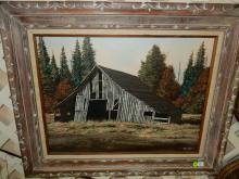 43) Wonderful oil painting on canvas by local listed artist Paul Chalk, depicting old barn, cond VG