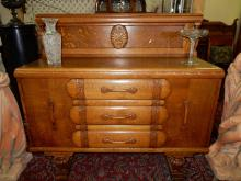 Amazing antique Art Deco oak sideboard with carved floral design, cond VG with only small back board panel removed, special shipping required