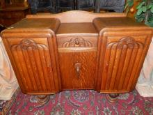 Amazing antique Art Deco oak sideboard with carved floral design, cond VG, special shipping required