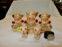 Unique pug? / dog Lusterware porcelain breakfast set with tray, COND VG