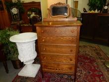 6) Wonderful, antique oak, highboy dresser, with mirrored backsplash. Special shipping required