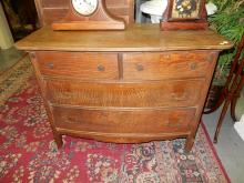7) Antique oak lowboy dresser, with bale handles. Special shipping required