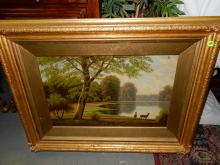 Lovely antique oil painting on canvas, depicting deer on lake, signed