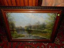 Antique framed oil painting on canvas, lake scene, signed, COND G, minor paint loss