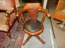 Victorian carved office chair / piano chair. Special shipping required