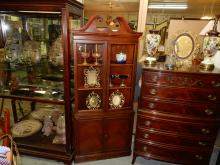 Antique mahogany corner cabinet. Special shipping required
