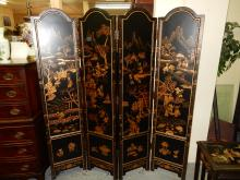Stunning! 4 panel hand painted Asian room dividing screen, with tree, mountain & people scene. Each panel is 72x16. Special shipping required