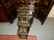 Lovely 4 piece Asian nesting tables, with jade? carved figures. COND G-VG, minor loss. Special shipping required