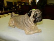 Vintage porcelain pug dog statue / figurine, COND VG