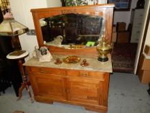 Lovely, antique, art deco, floral carved, marble top dresser with mirror. Special shipping required
