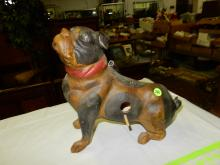 Unique pug dog pottery bird house, age? COND VG