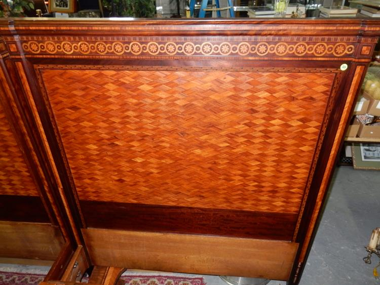 2 Piece Fancy Inlay Single Beds With Rails Special Shippin