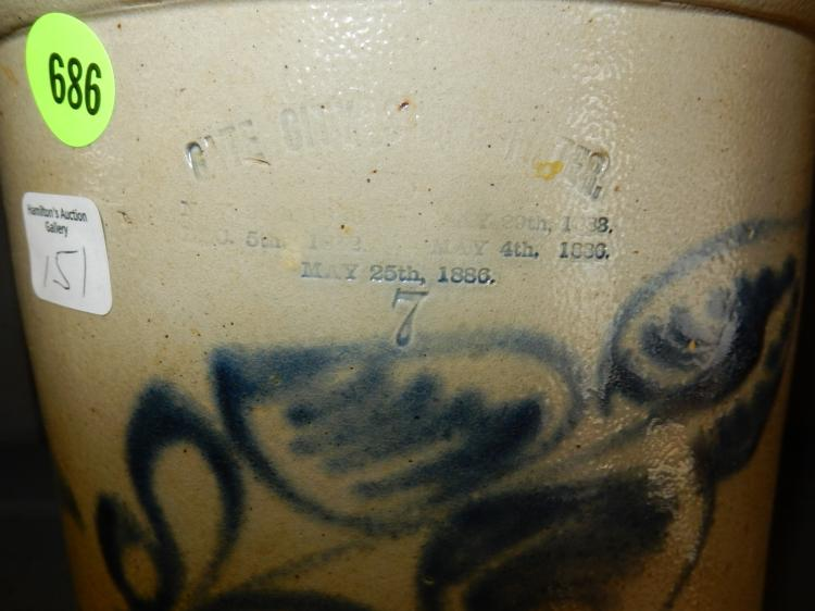 Antique Primitive Advertising Crock For Gate City With Blue