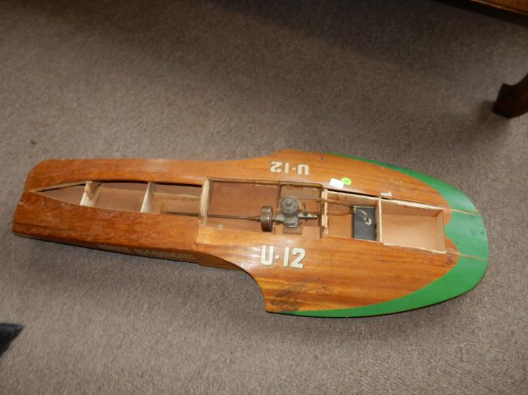 Vintage Miss Bardahl U-12 wooden racing boat model hull, wit