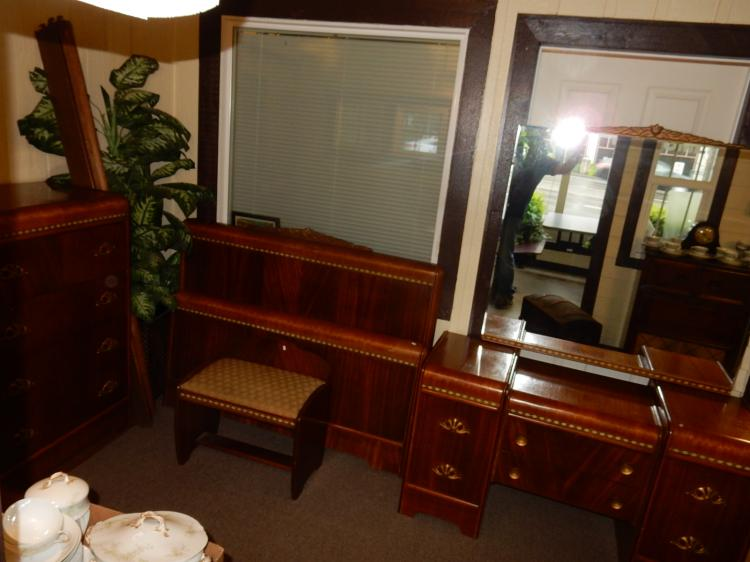 Nice deco 4 piece waterfall bedroom set with highboy chest for Bedroom furniture 98409