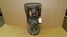 10069) African carved Caryatid, two females. From DR Congo. 17 x 8 1/2