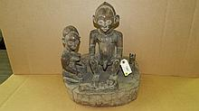 1261) African carved family scene figure on pedestal. From DR Congo. 16 x 14 x 9