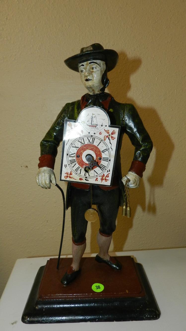 Unique Vintage Figure Clock Seller man of the time, metal fi