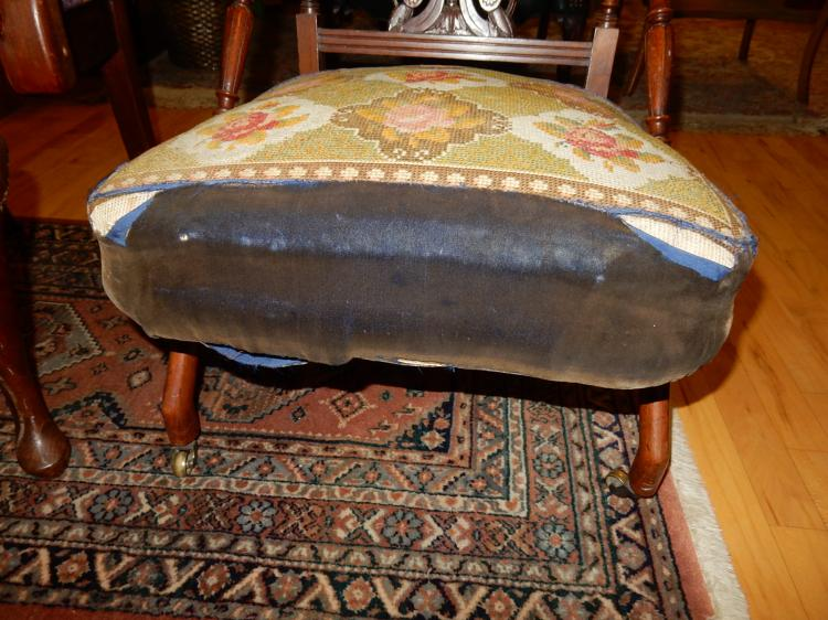 Wonderful antique carved slipper chair original upholstery for Furniture upholstery tacoma