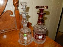 1) 2 piece decanters, one cranberry flash