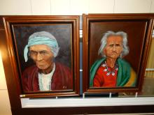 2 piece oil painting, depicting southwest Native American old man & woman