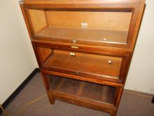 3 section lawyers stacking bookcase, by Globe Wernicke, was used in the IRS building, no top lid. Special shipping required