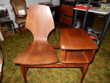 Rare mid century modern, rosewood? / teak? gossip bench, no maker mark noted. COND VG, Special shipping required