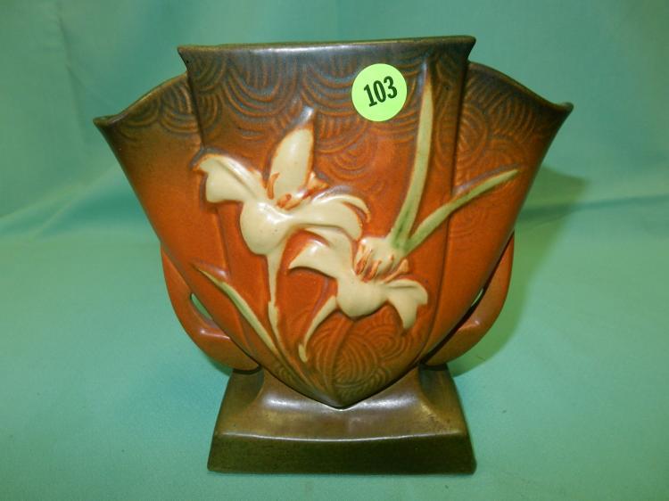 Nice Vintage Roseville Pottery Vase Zephyr Lily 206 7 Cond