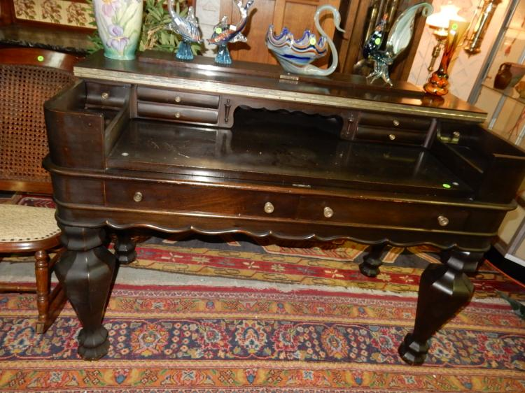 Amazing antique spinet desk, in shape of grand piano, lift top, cond G - Amazing Antique Spinet Desk, In Shape Of Grand Piano, Lift T