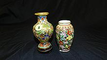 2 pc. Asian vase, one metal Cloisonne, one porcelain painted, COND VG, approx. 4