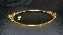 Rose metal mirror vanity plateau, COND VG, 18 x 10 1/2